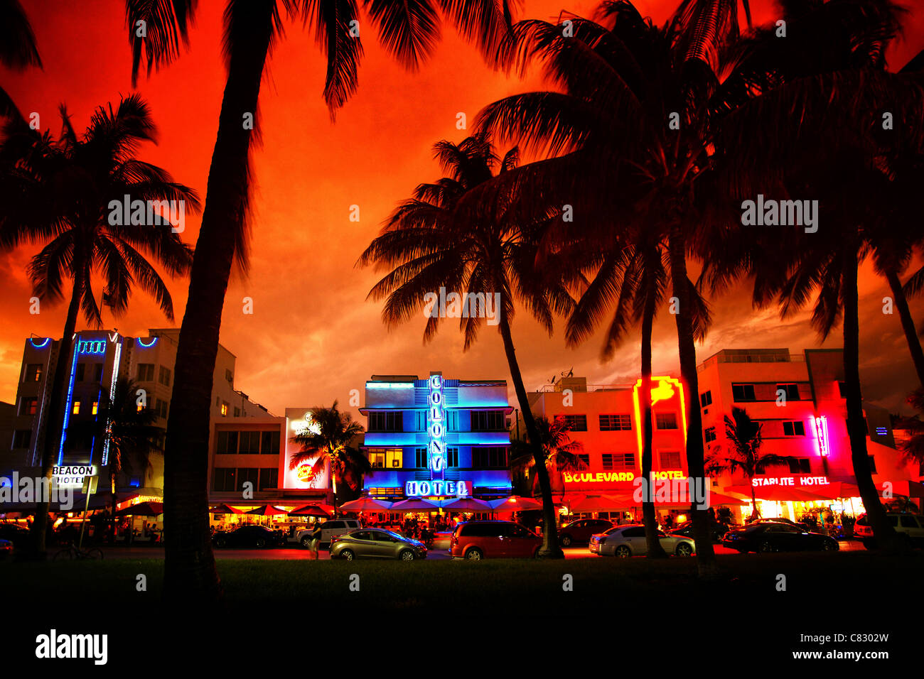 Art Deco Hotels With Neon Lights On Miami Beach At Sunset