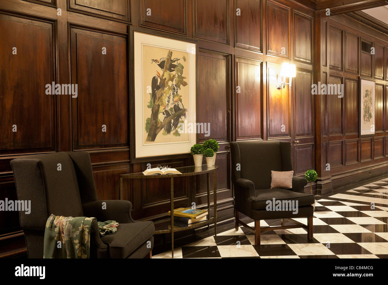 wood paneled vintage hotel lobby interior with john james audubon stock photo royalty free. Black Bedroom Furniture Sets. Home Design Ideas