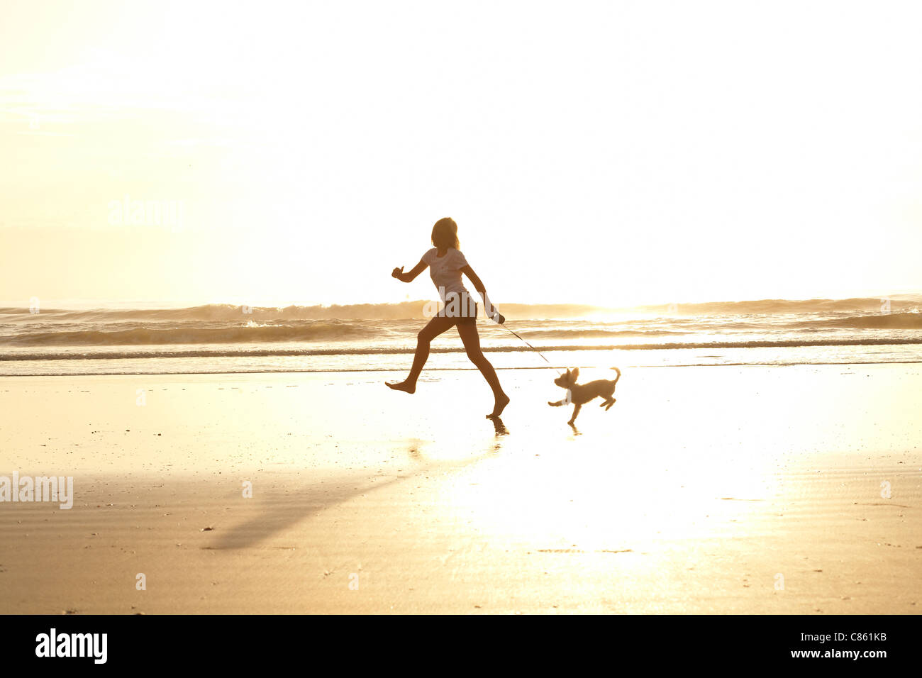 Girl running on the beach with her dog in the morning ... Girl Running On Beach