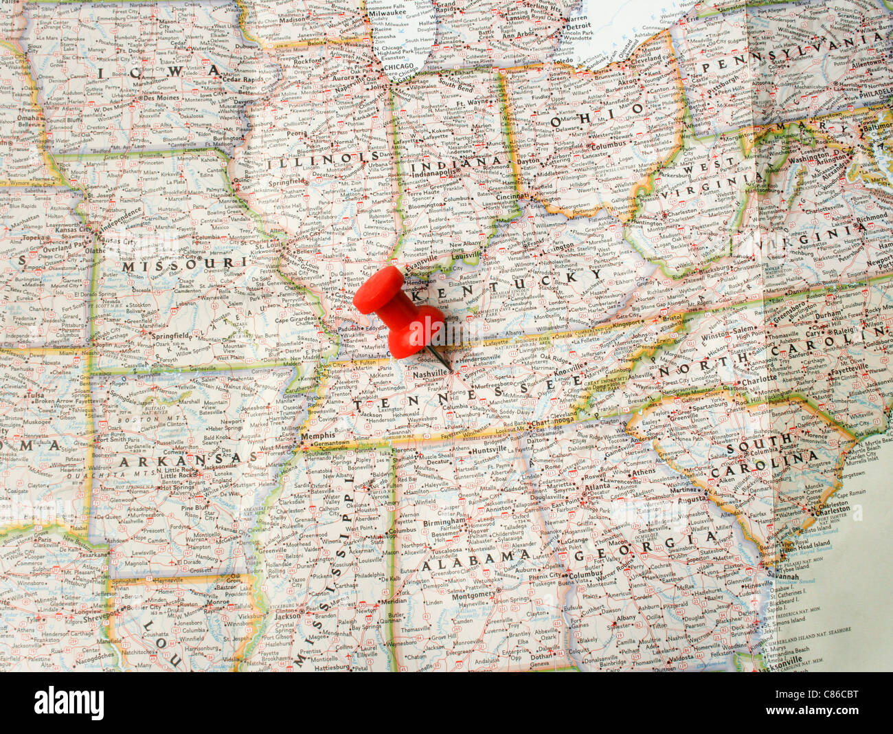 Red pin on map of USA pointing at Nashville in Tennessee Stock
