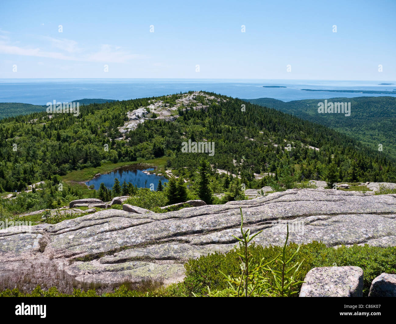 Overlooking the featherbed small lake and south ridge trail on overlooking the featherbed small lake and south ridge trail on cadillac mountain arcadia national park me usa sciox Choice Image