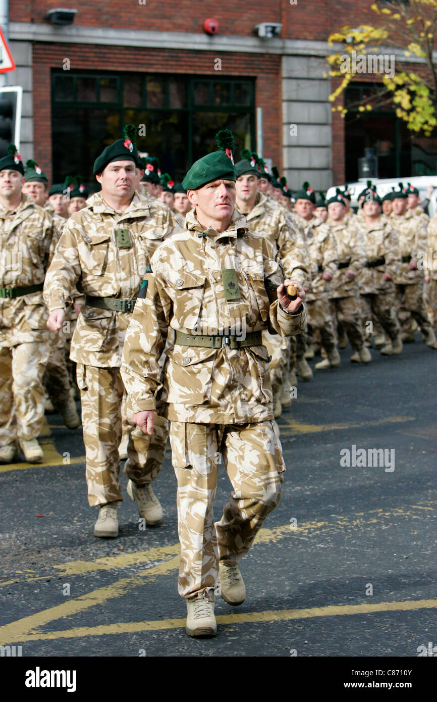 Royal irish regiment soldiers march at the royal irish regiment rir homecoming parade in belfast on