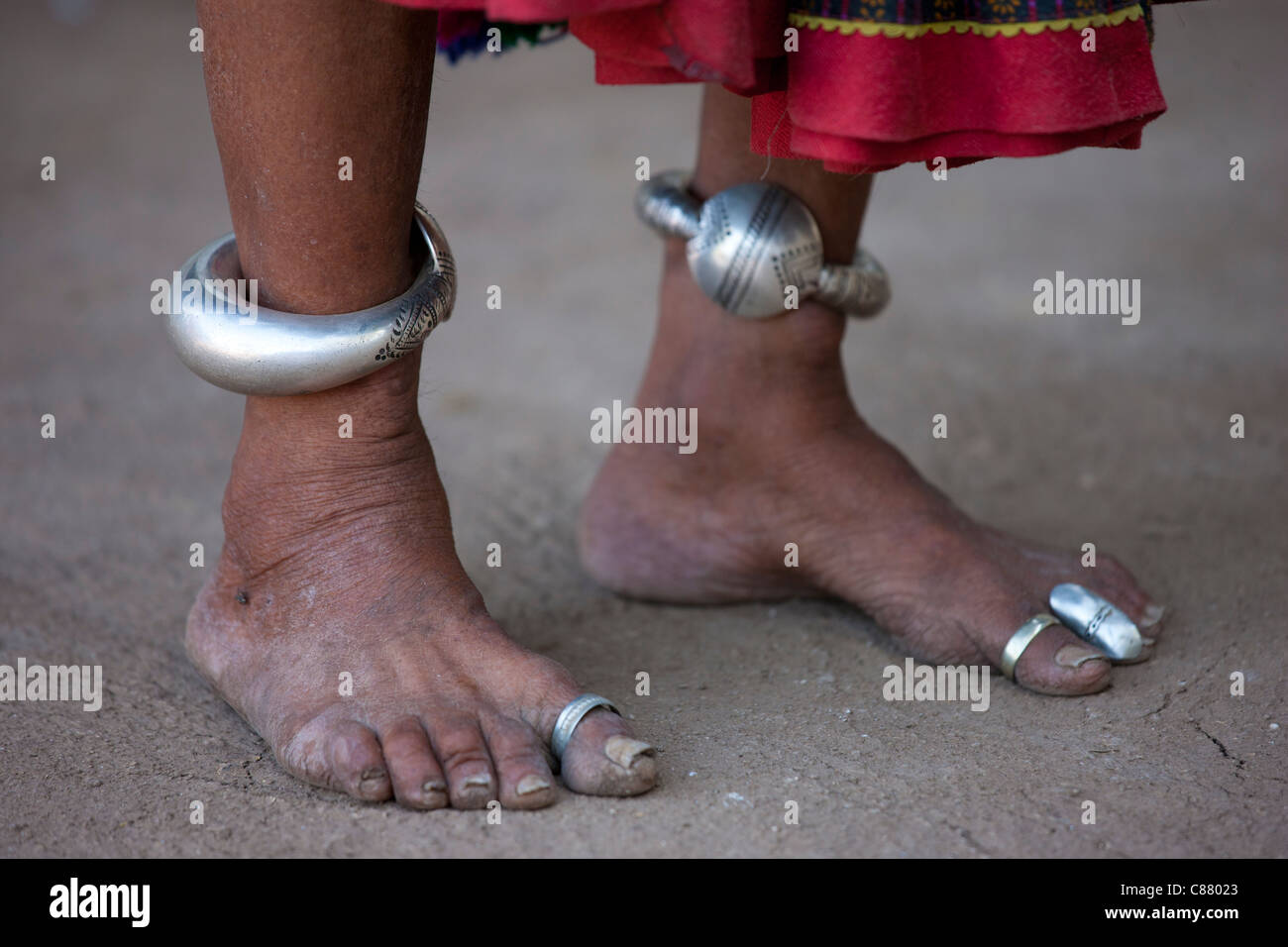 Elderly Indian Woman With Ankle Bracelets And Toe Rings At Home In Narlai  Village In Rajasthan