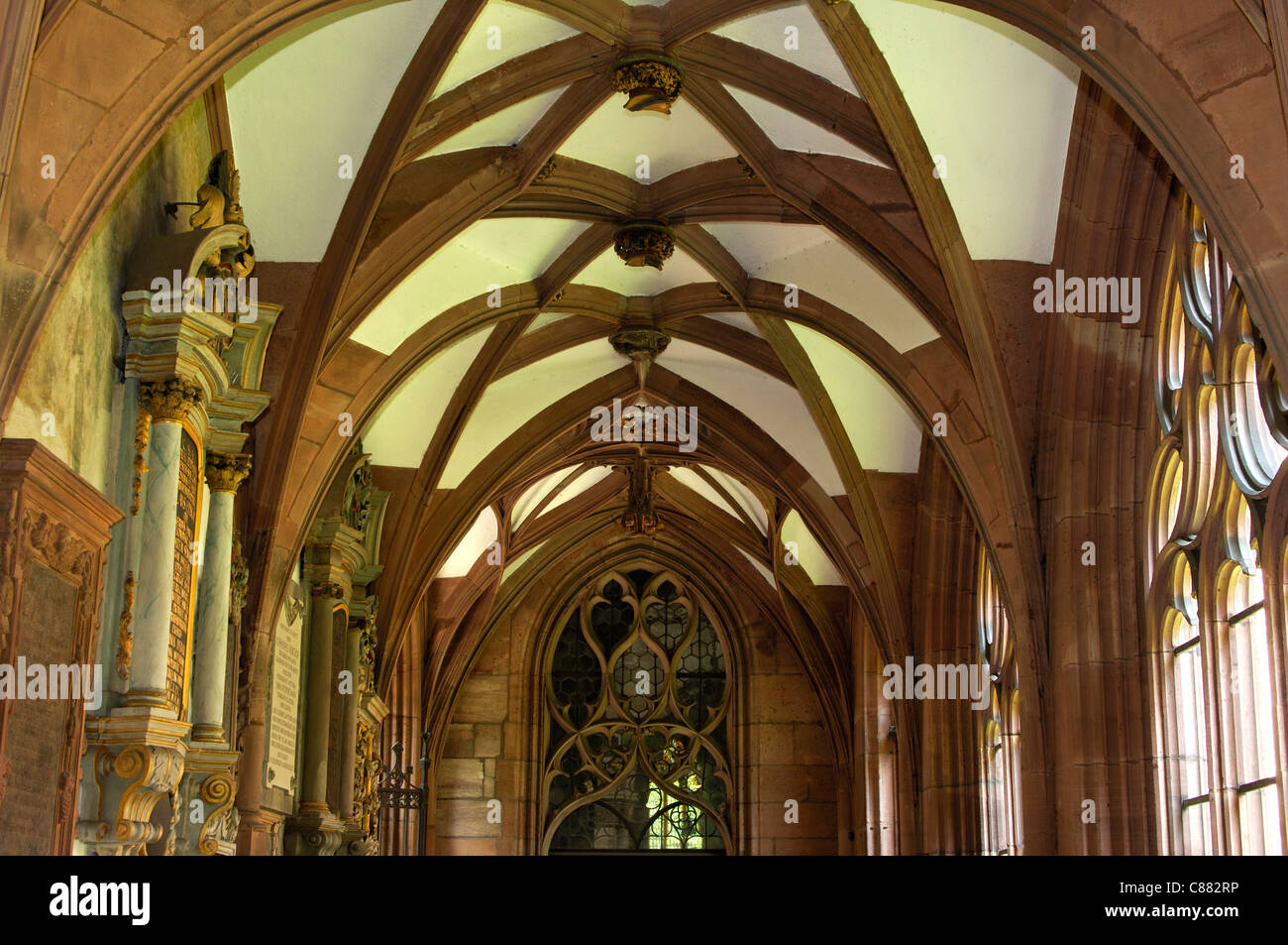gothic rib-vault ceiling in the cloister of the basel münster