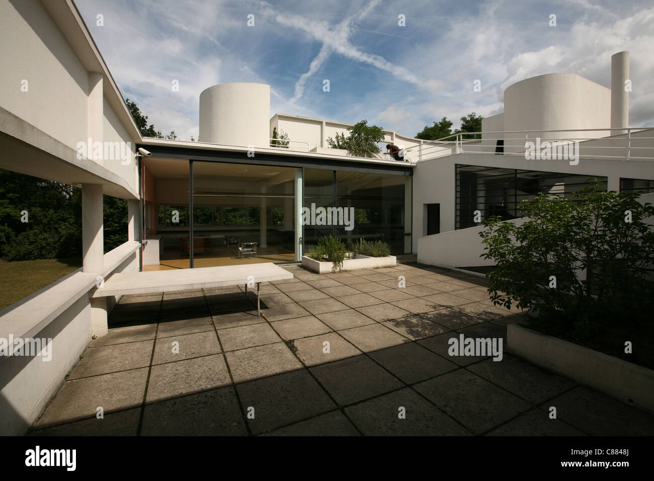 Roof terrace of the Villa Savoye by architect Le Corbusier