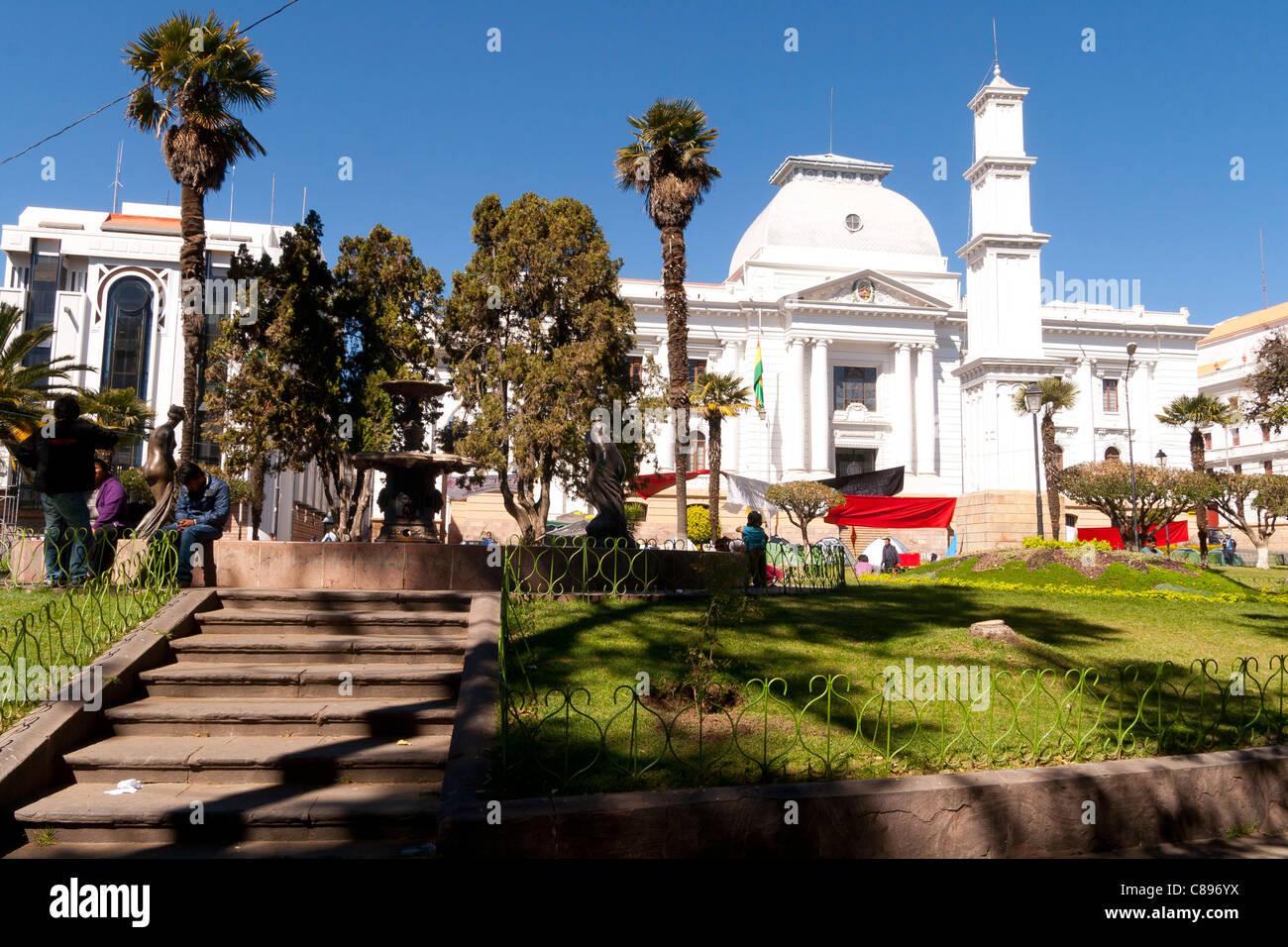 Corte suprema de justicia view from parque bolivar sucre old city bolivia unesco world heritage