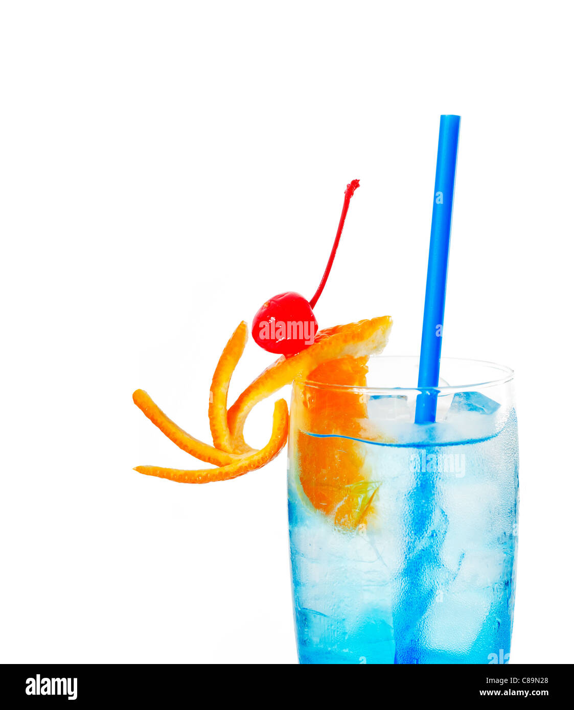Blue long drink cocktail with orange and cherry garnish for Orange and blue cocktails
