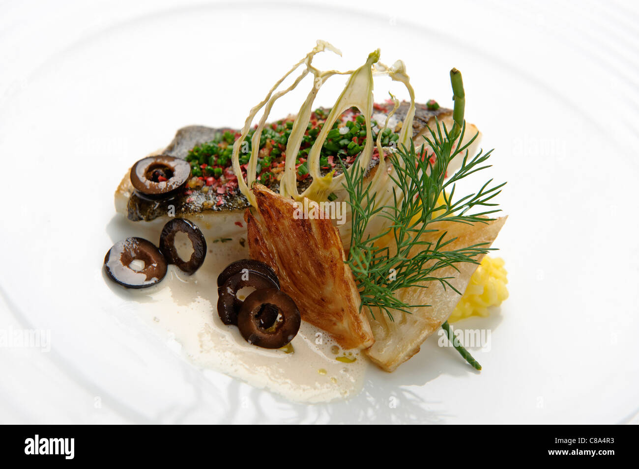 Nouvelle cuisine gourmet fish dish stock photo royalty free image 39561287 alamy for Nouvelle cuisine