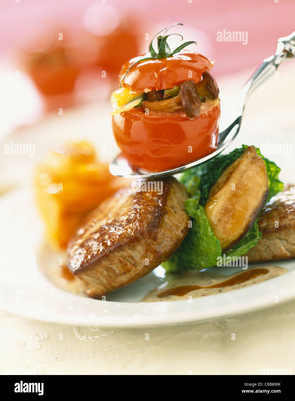 Beef Steak Pan Fried Foie Gras And Stuffed Tomato