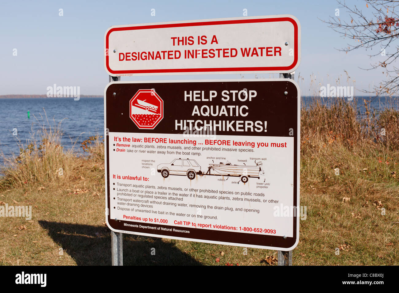 A sign on mille lacs lake in minnesota warning of invasive for Mille lacs lake fishing regulations