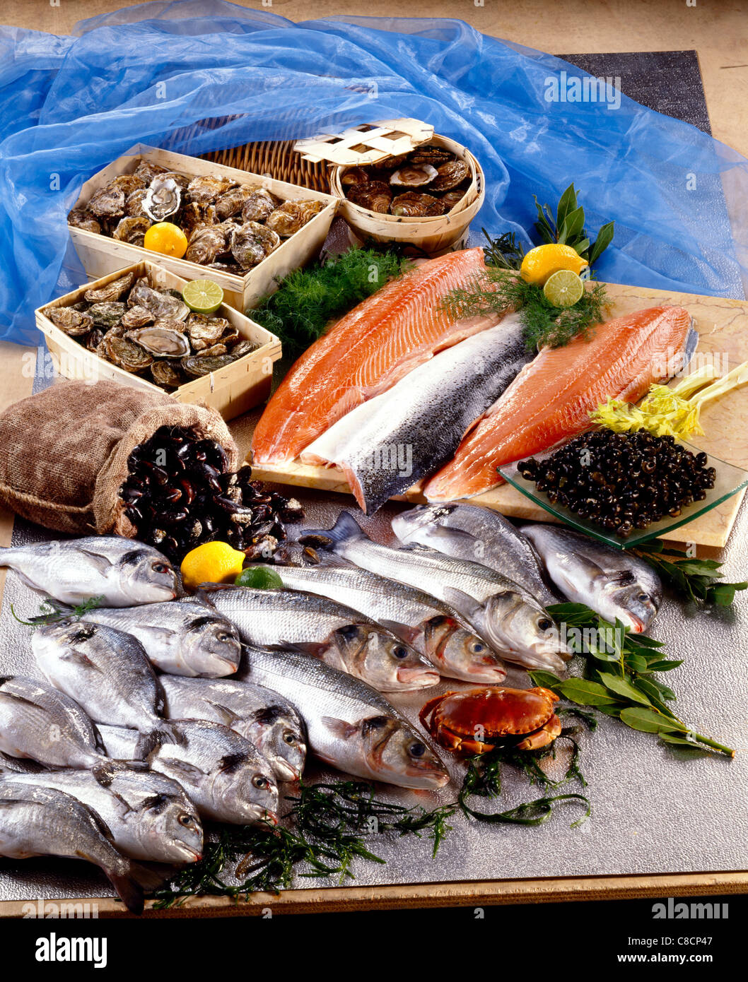 Fresh fish and seafood stock photo royalty free image for Fish and seafood