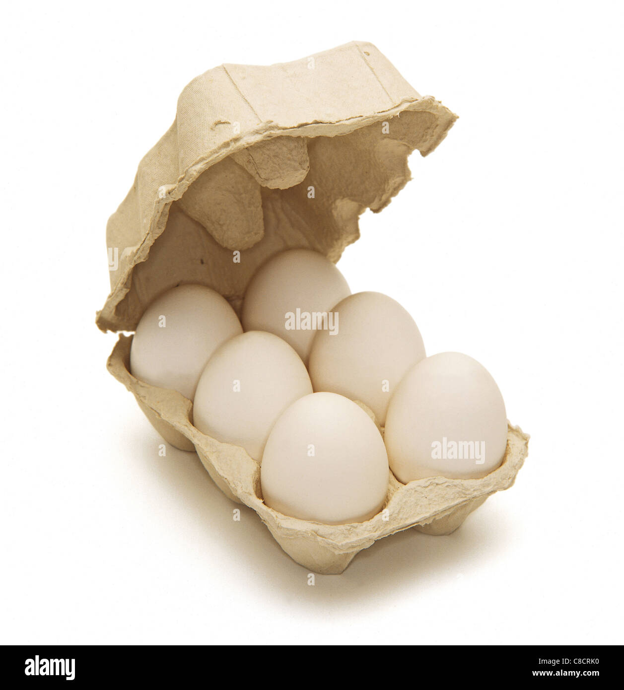 Box of half dozen white eggs Stock Photo, Royalty Free ...