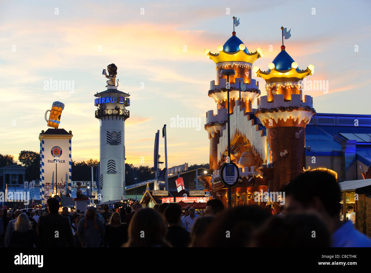 world famous Oktoberfest in Munich Germany with towers of beer tents : world famous tents - memphite.com