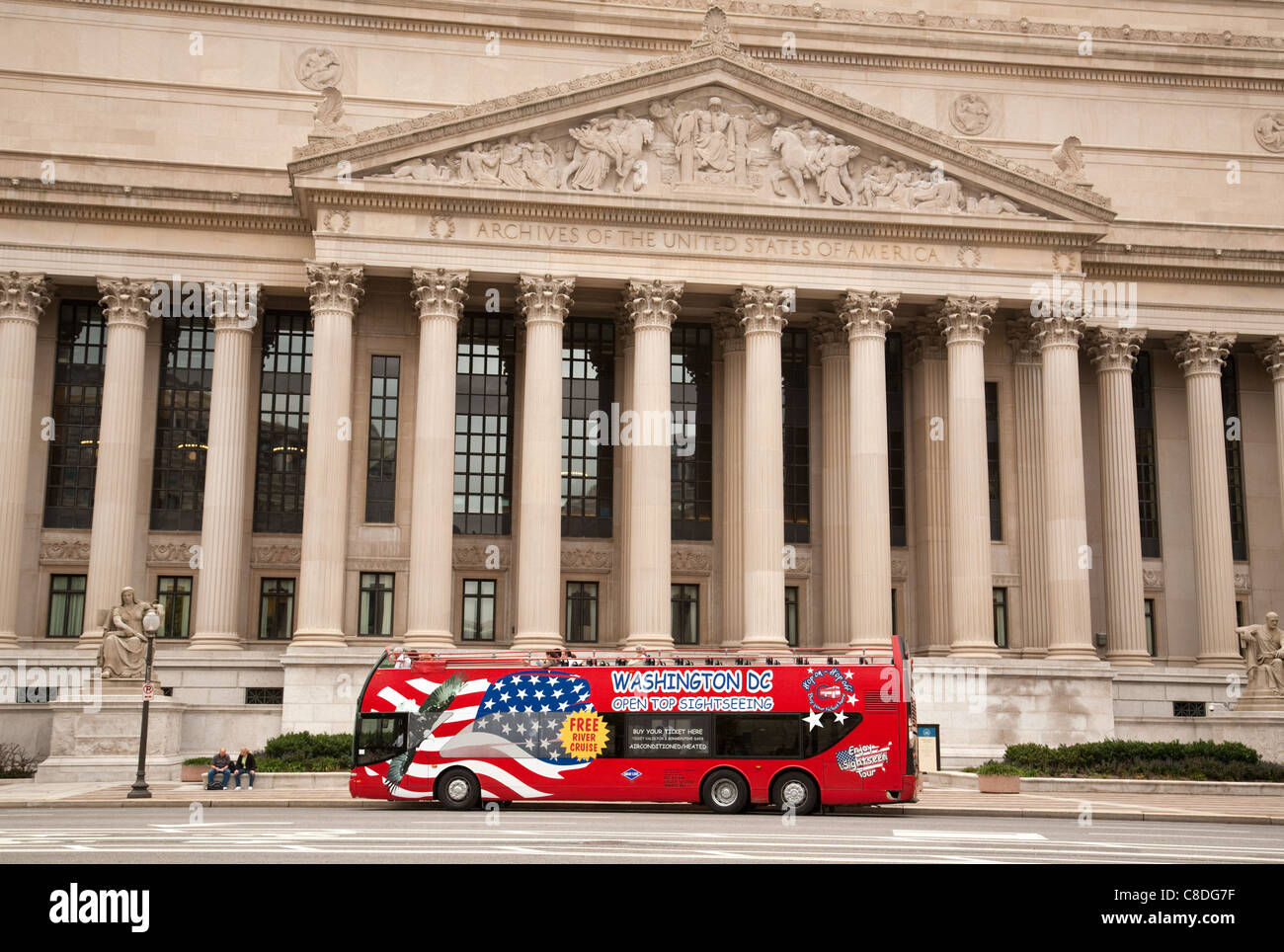 A Tour Bus Outside The National Archives Washington Dc