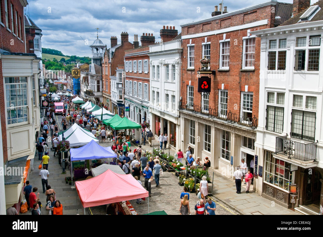 Guildford Historic High Street And Shoppers On A Busy