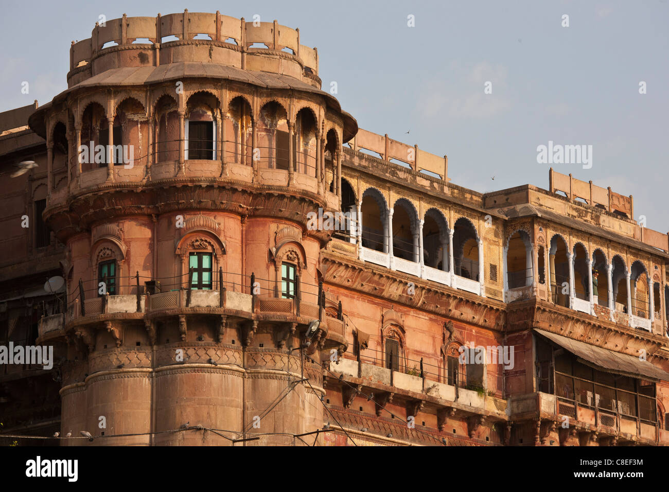 Stock Photo   Traditional Architecture Ancient Building Fronting The Famous  Ghats By The Ganges River In Holy City Of Varanasi, India