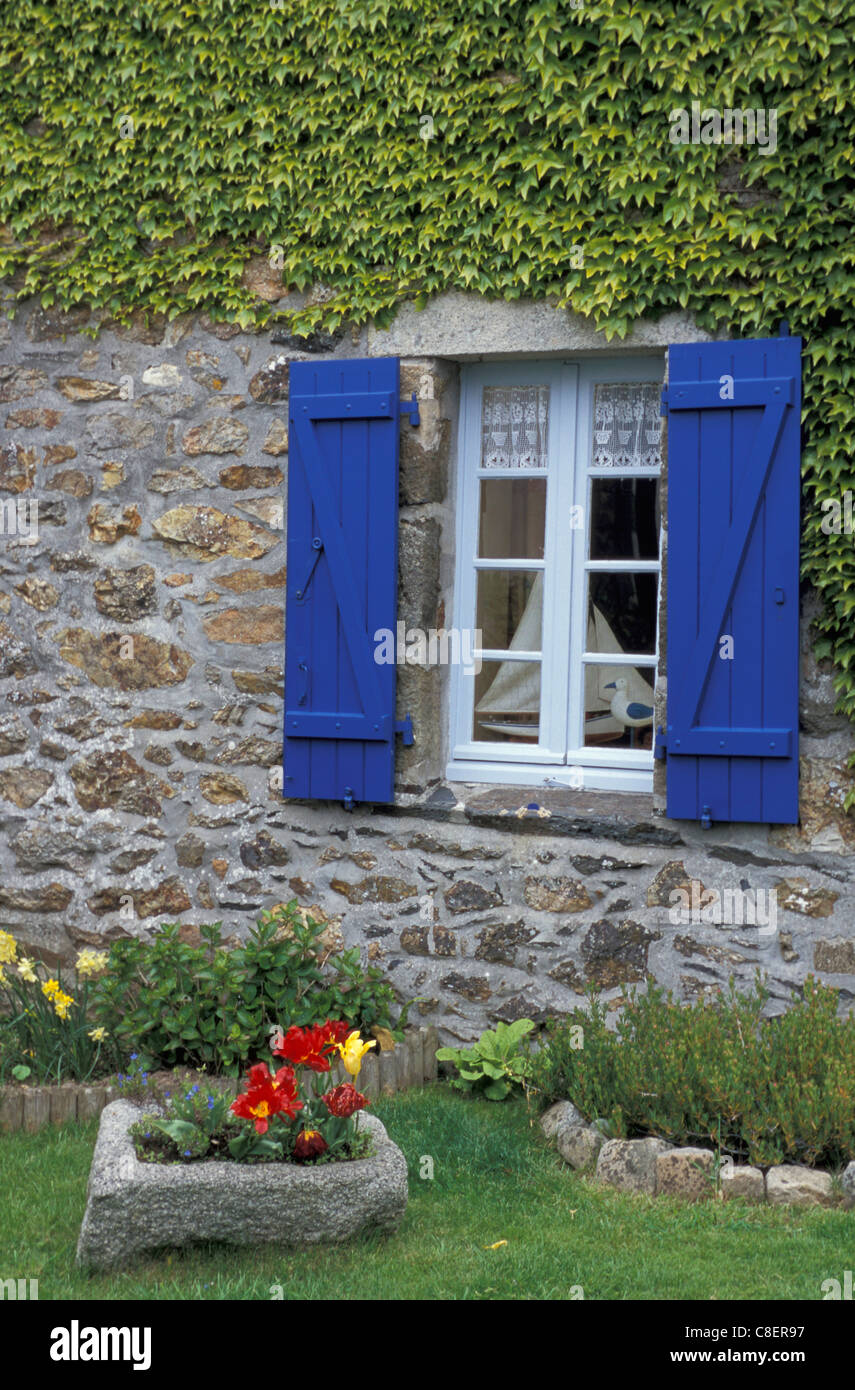 High Quality House, Window, Blue, Garden, Plouezoch, Brittany, Bretagne, France, Europe