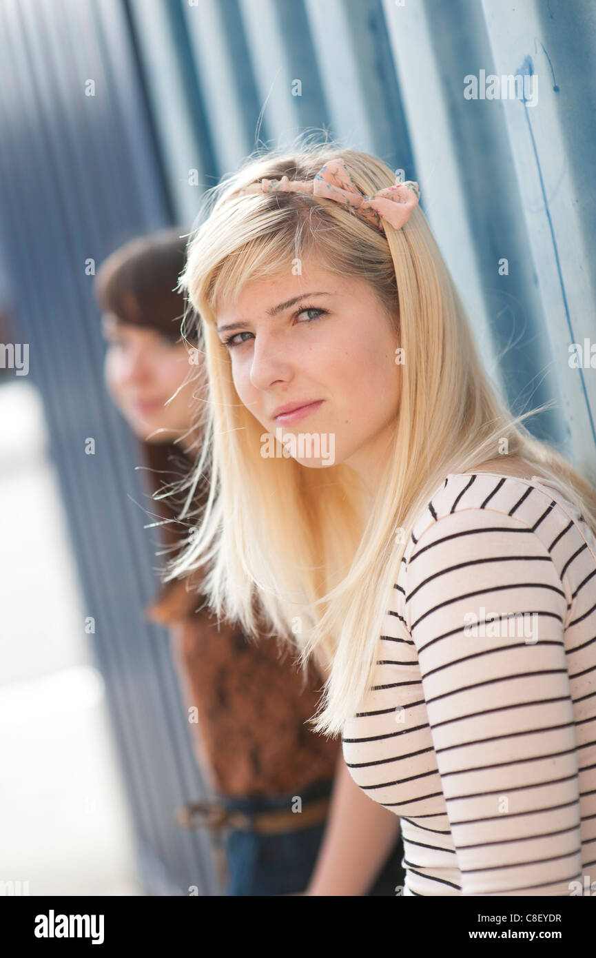 Two 16 17 Year Old Teenage Girls, UK Stock Photo, Royalty