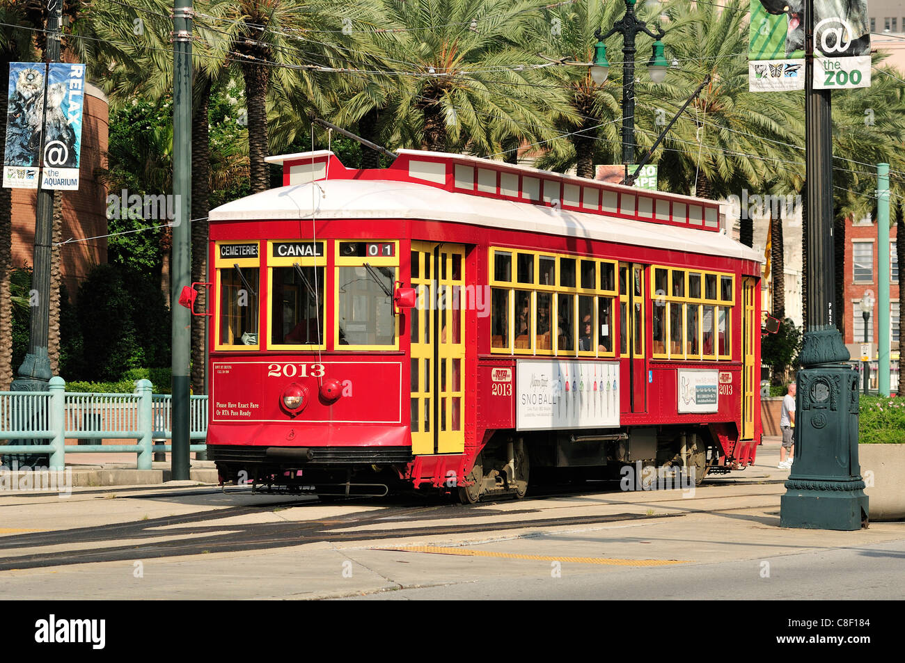 New Orleans Street Cars: Red Streetcar, Canal Street, New Orleans, Louisiana, USA