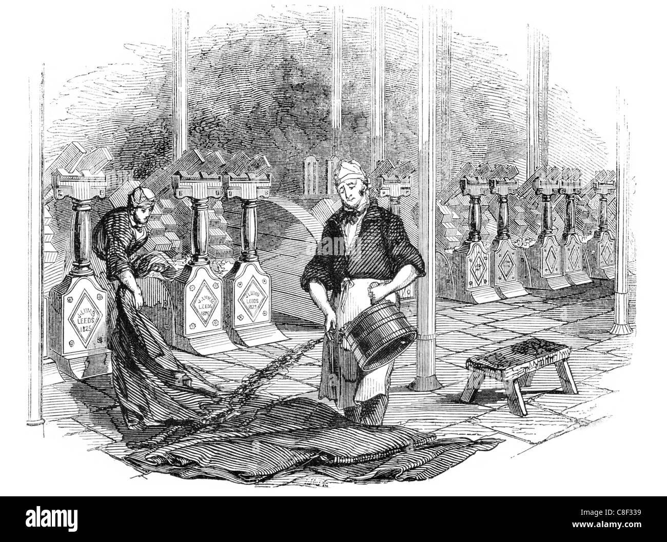 fulling stocks tucking walking waulking woolen clothmaking
