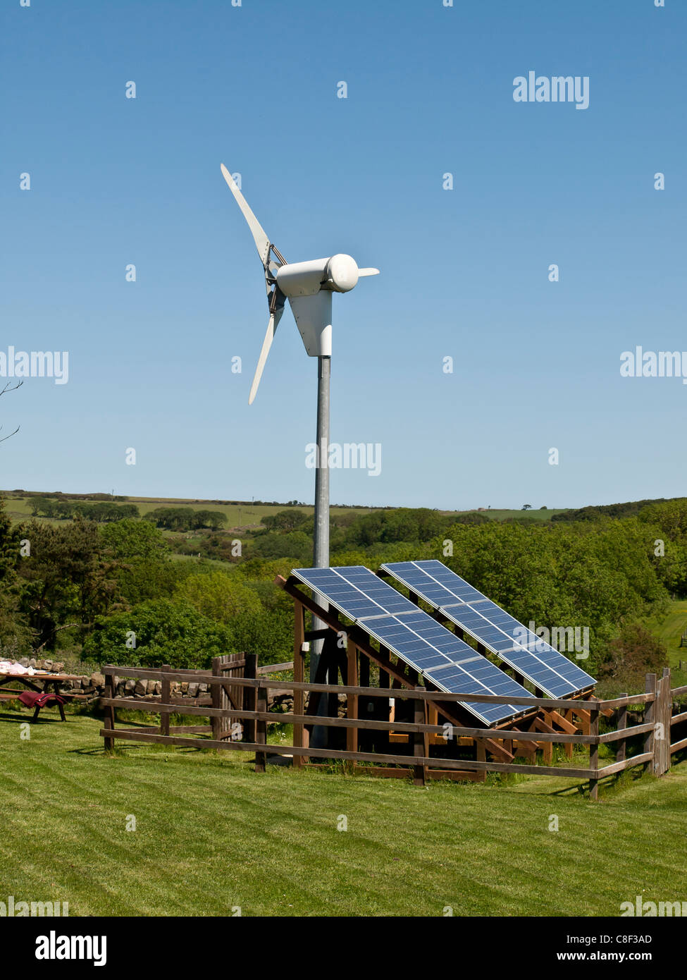 Small Wind Turbine And Solar Panel Array Yorkshire Uk