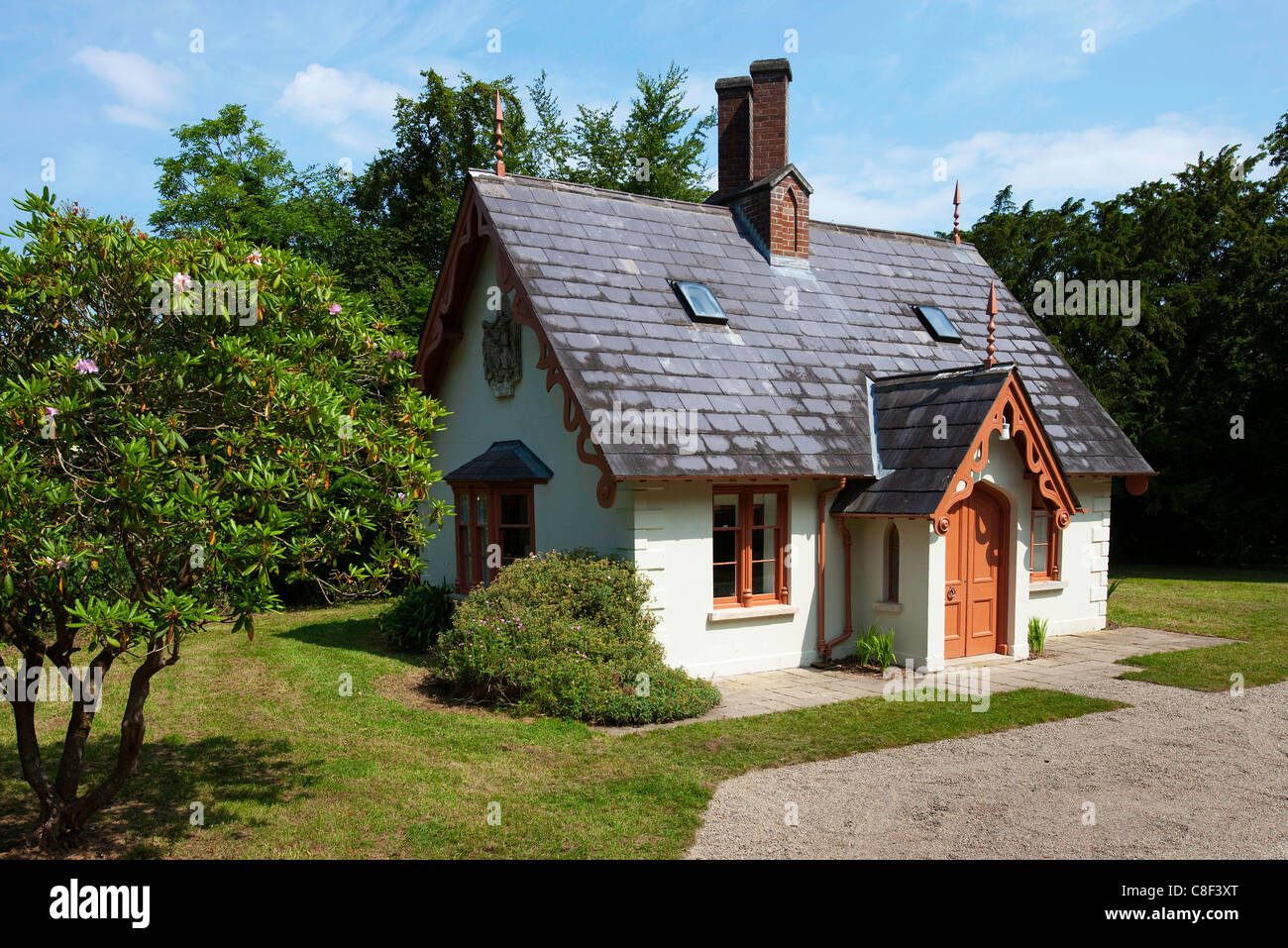 Traditional House Plans One Story Small Irish Cottage Situated In A Wooden Area Stock Photo