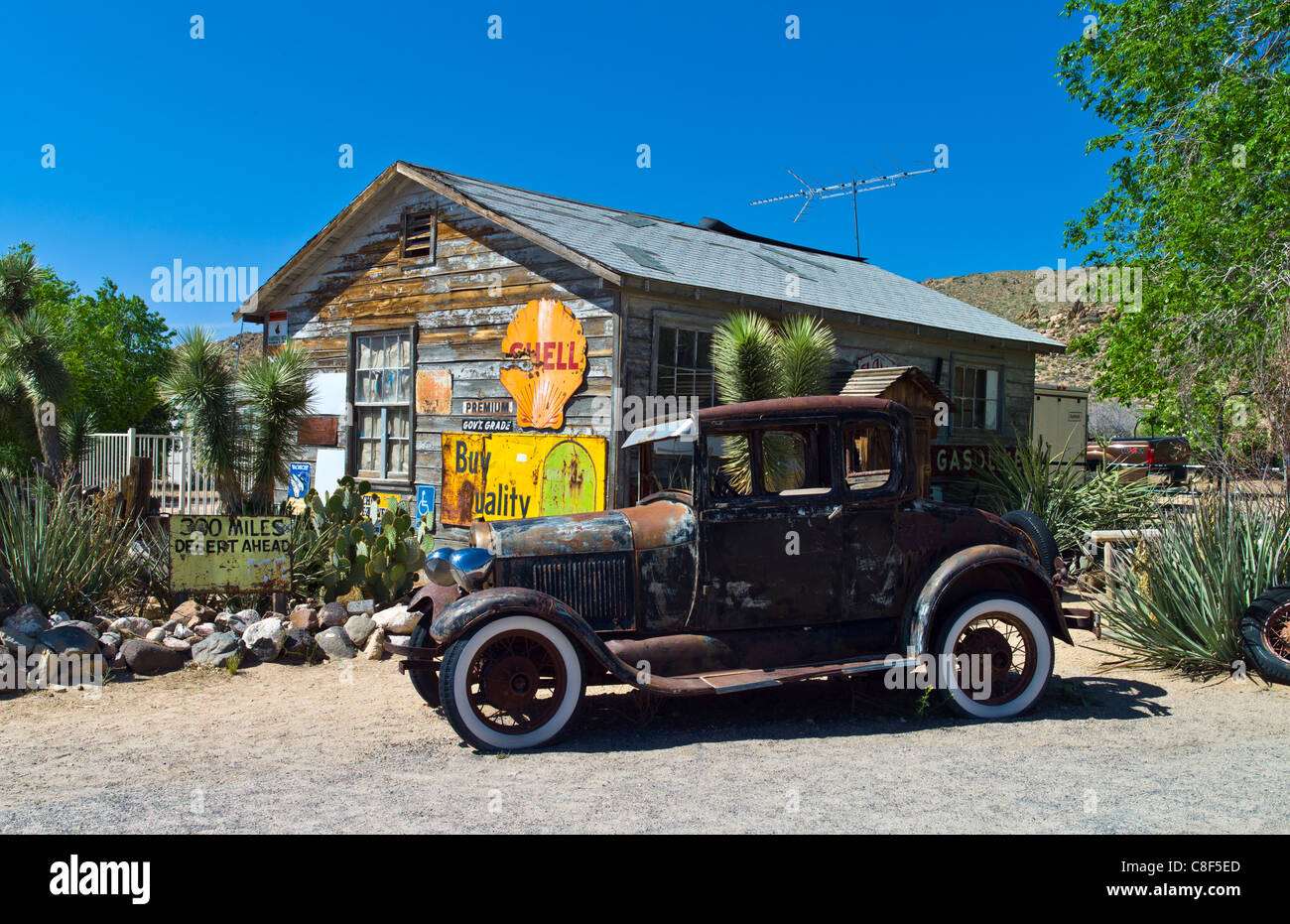 U.S.A. Arizona, Hackberry, old cars in the General Store on the ...