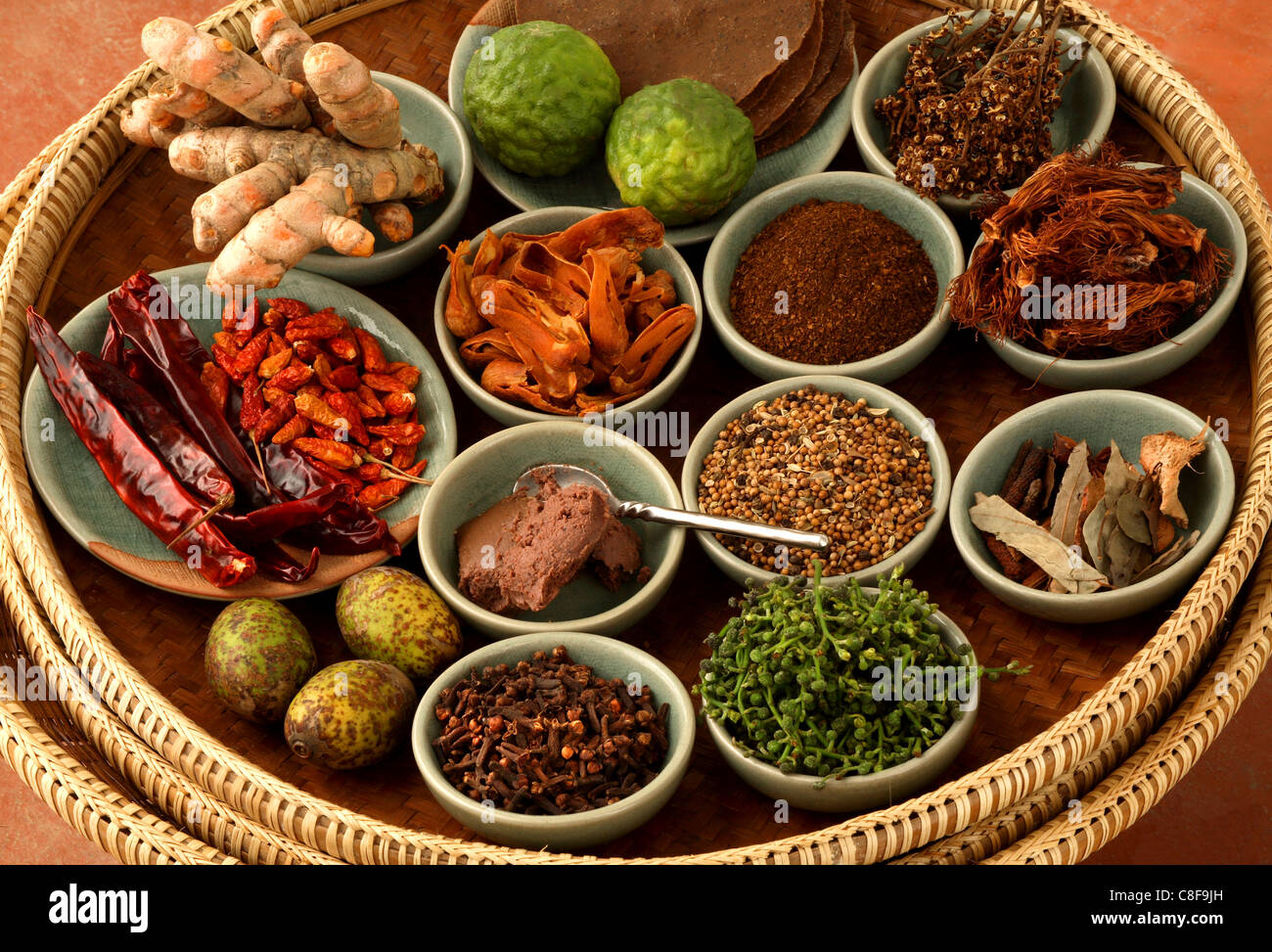 spices used in thai food thailand southeast asia stock