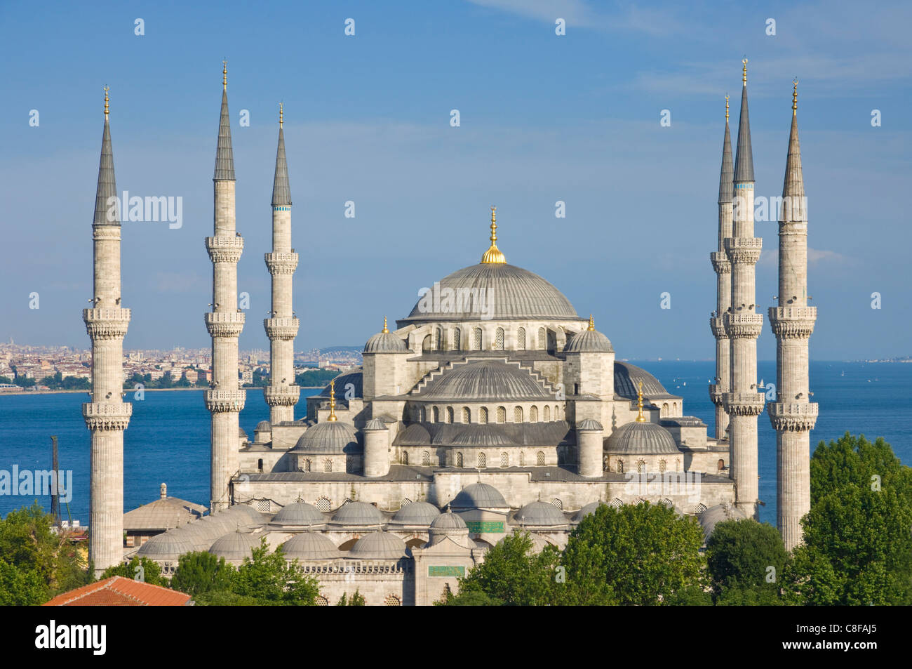 The Blue Mosque (Sultan Ahmet Camii) with domes and six minarets Stock Photo,...