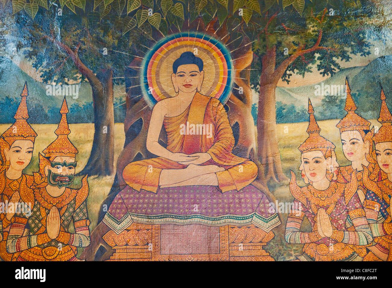 Asia cambodia phnom penh wat phnom buddha buddhism for Buddha mural art