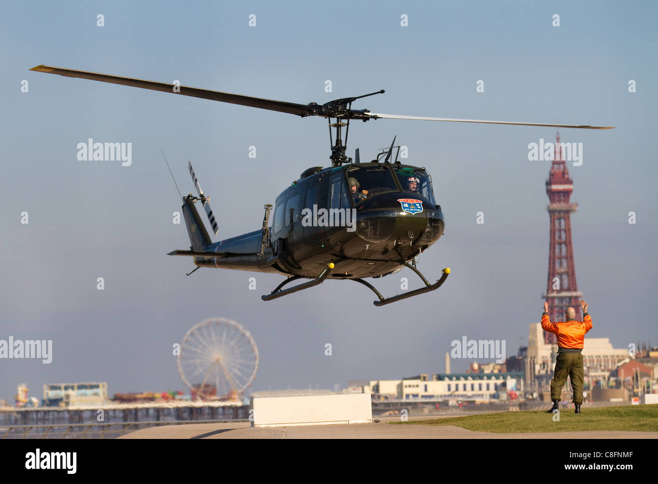 Huey 509 Amp Loach 11 Helicopters Landing At Blackpool Waterloo Road Stock