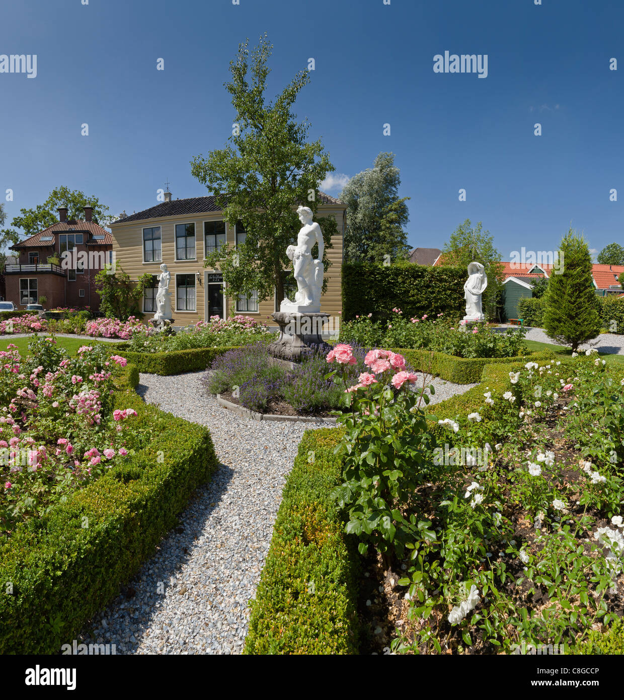 Netherlands, Europe, Holland, Zaandijk, Summer House, Statues, Garden, City,  Village, Flowers, Summer, Garden