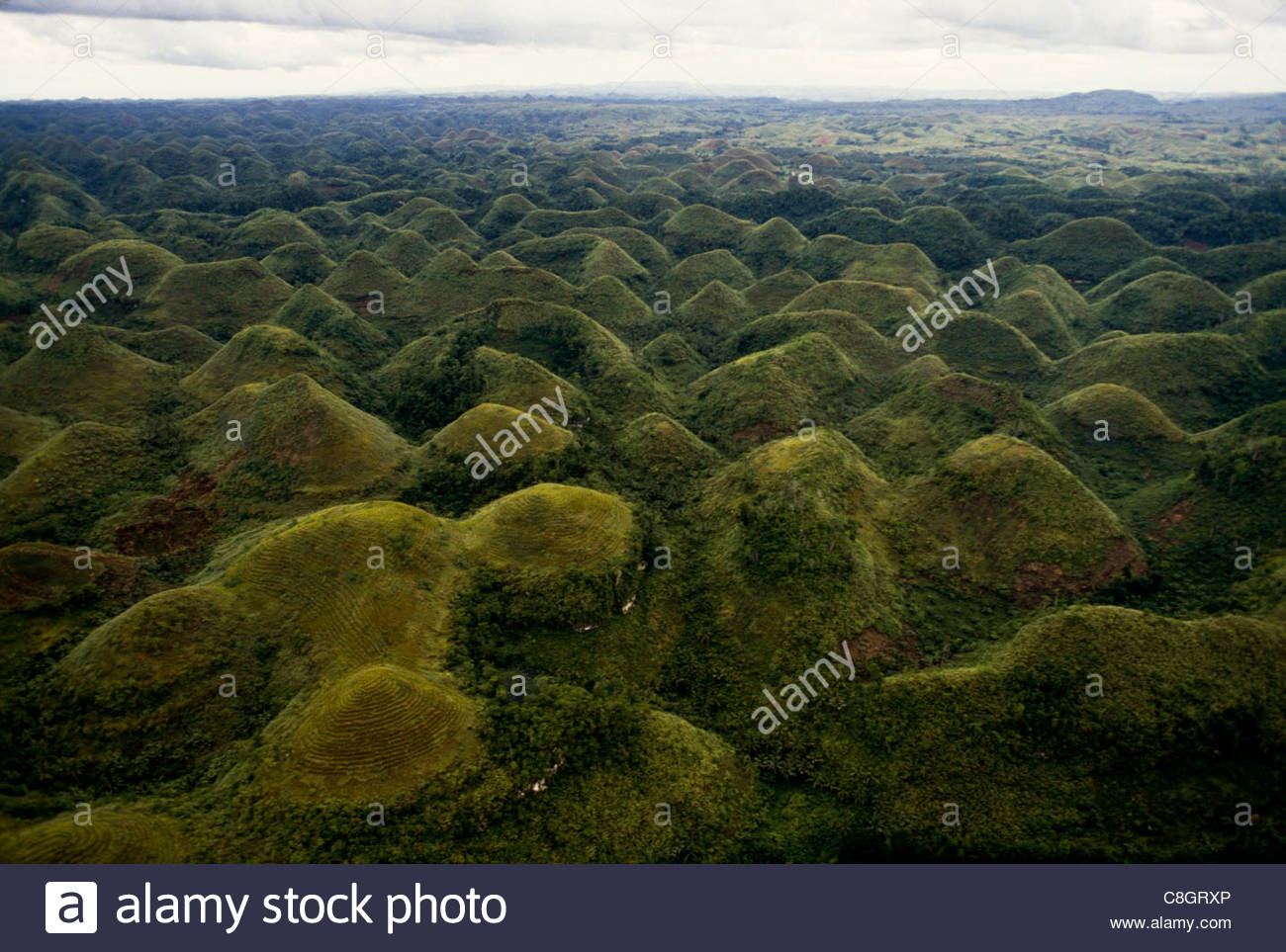 An aerial view of the famous Chocolate Hills Stock Photo, Royalty ...
