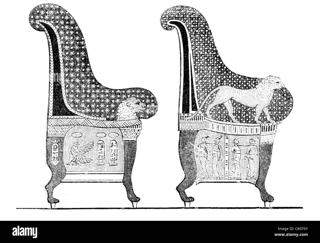 Ancient egyptian furniture - Stock Photo Ancient Egyptian Chairs High Backed Chair Royal Furniture Ornate Egypt