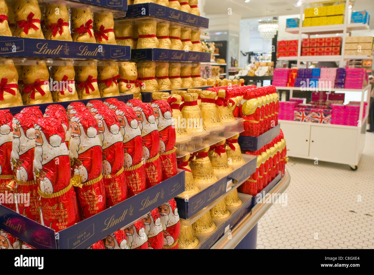 Lindt chocolate for christmas in Selfridges store, London Stock ...