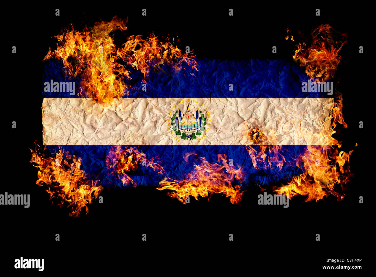 National symbols and flag of El Salvador Stock Photo Royalty Free