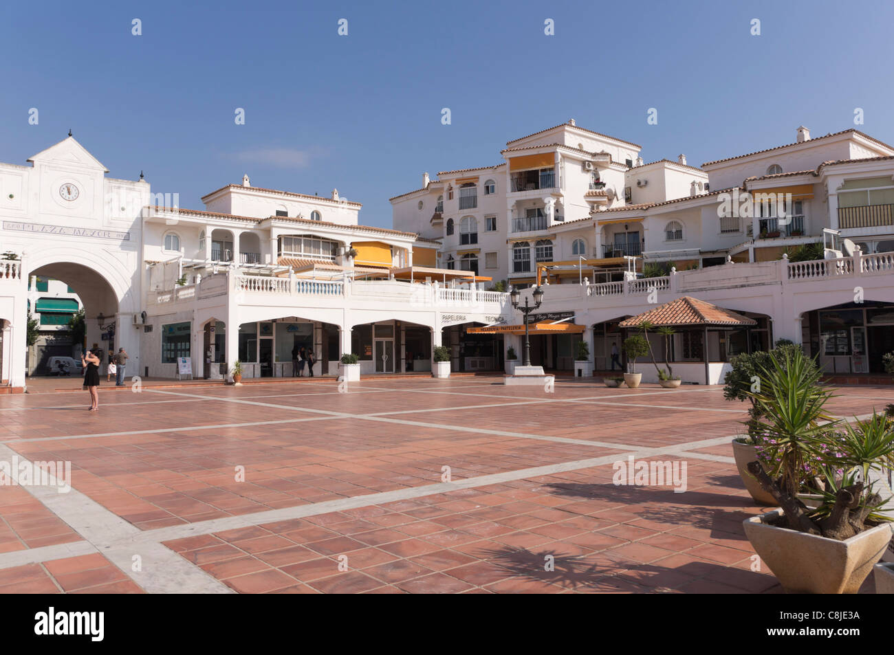 costa del sol spain benalmadena plaza mayor stock
