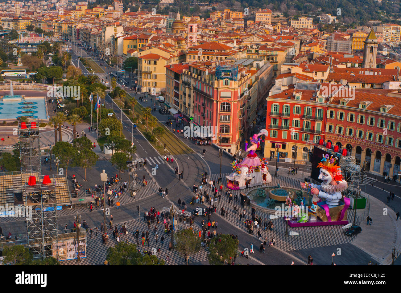 Nice, France, Cityscape, Center Old TOwn, Aerial, Daytime ...