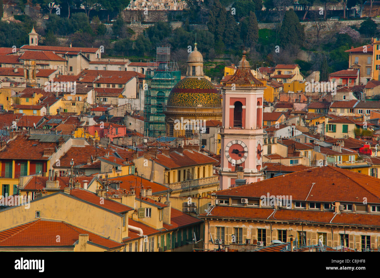 Nice, France, Cityscape, Center of Old TOwn, Aerial ...