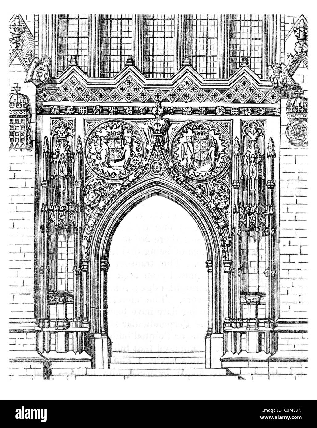 Doorway Kings College Chapel University Cambridge Gothic Nave Chancel Church Fine Medieval