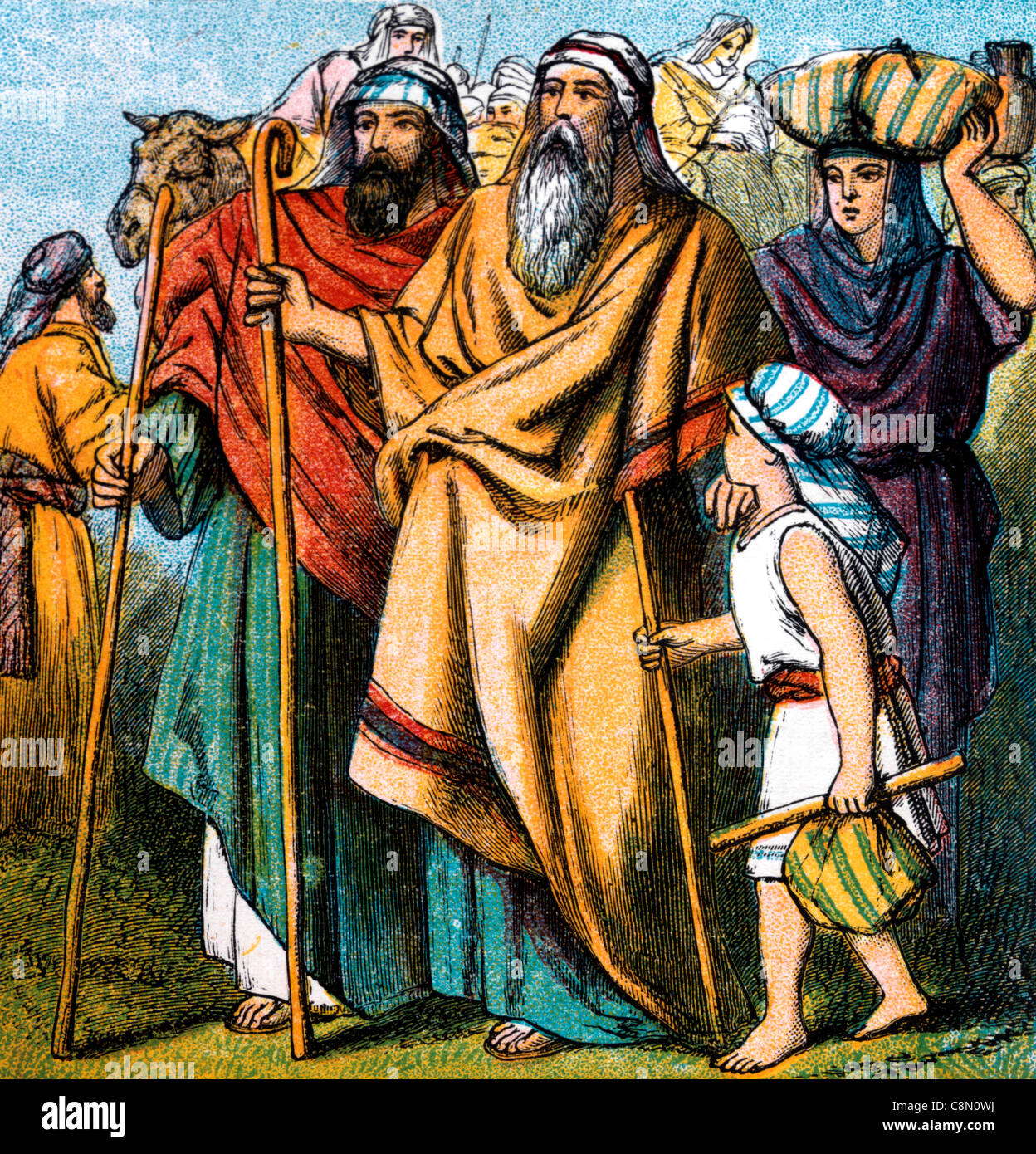 Bible Stories- Illustration Of Abraham Leaving His Country And His ...