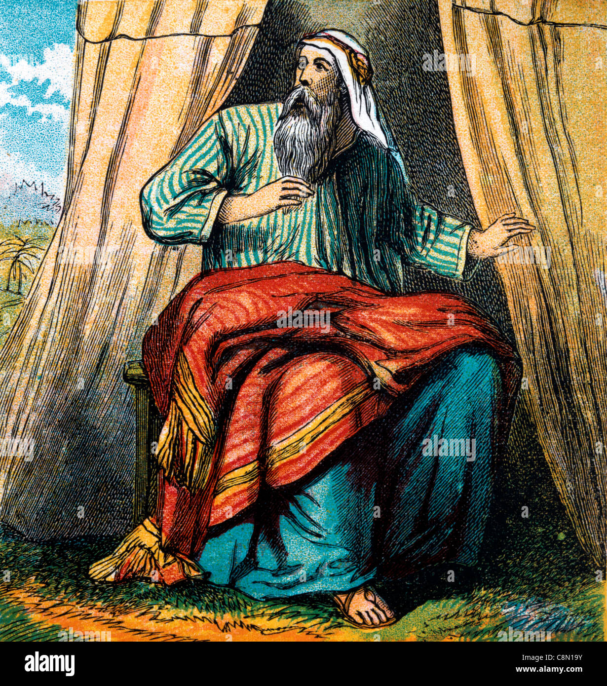 Bible Stories- Illustration Of Abraham Sitting At The Entrance Of His Tent In The Plains Of Mamre When He Is Visitied By Three Men In The Presence Of God ... & Bible Stories- Illustration Of Abraham Sitting At The Entrance Of ...