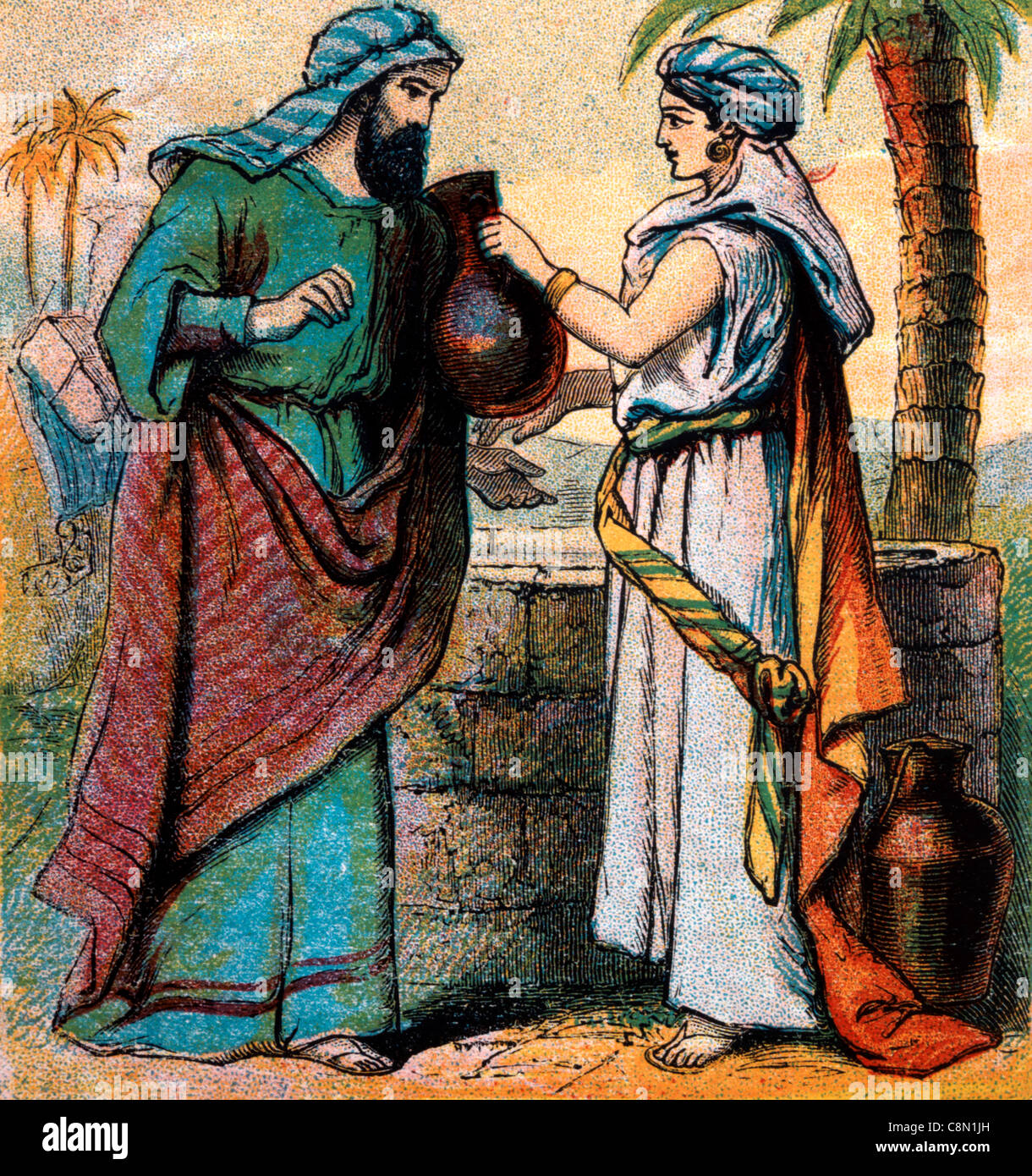 bible stories illustration of rebekah offering water to abraham u0027s