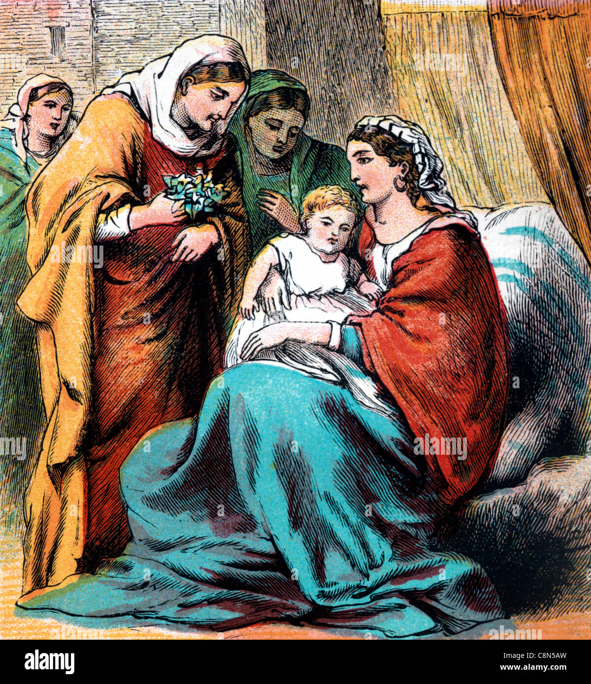 bible stories illustration of ruth handing her son obed over to