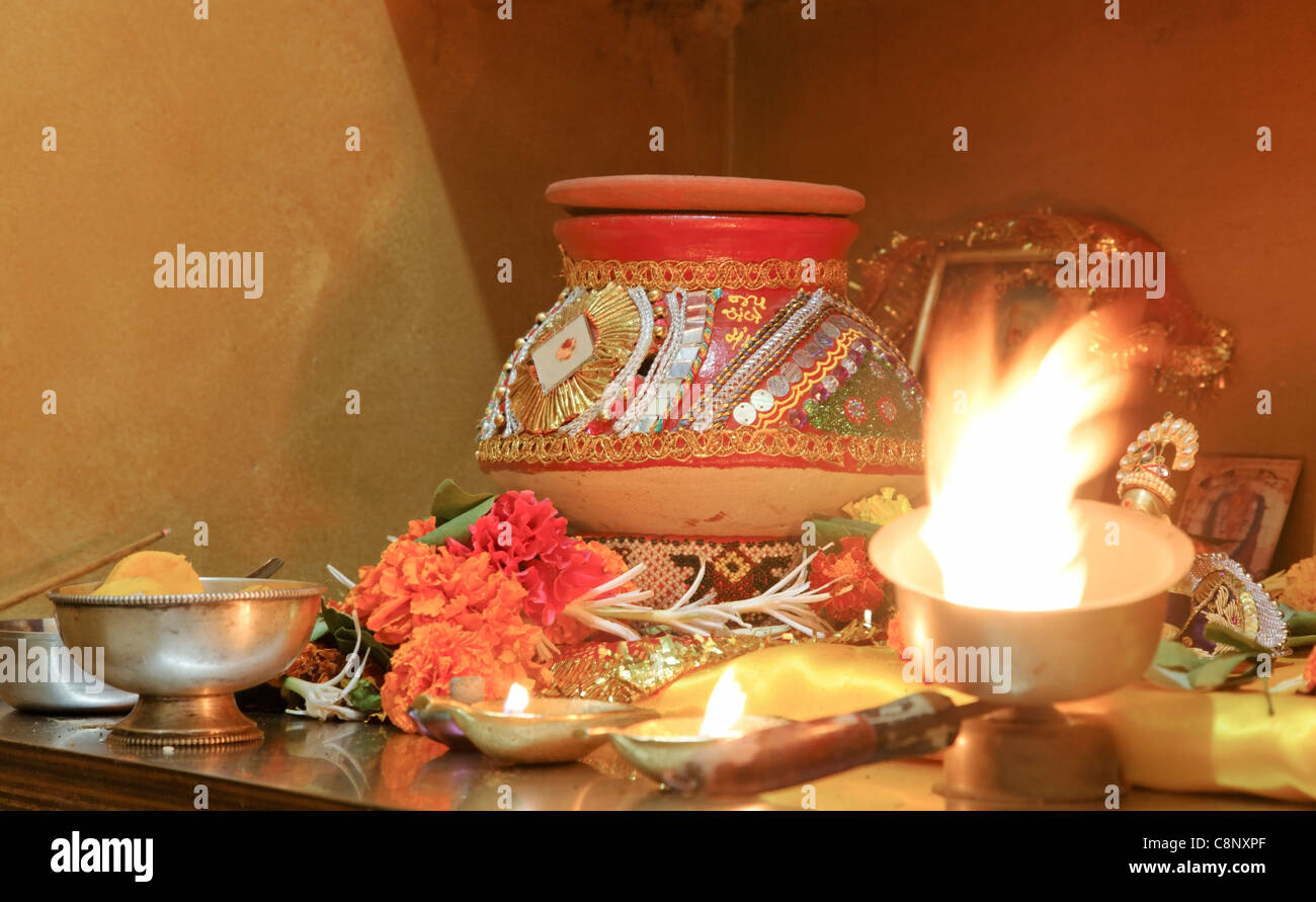 Panoramic Landscape Hindu Hinduism Religion Religious Worship Navratri Event Home With Puja Decorated Clay Pot Matti