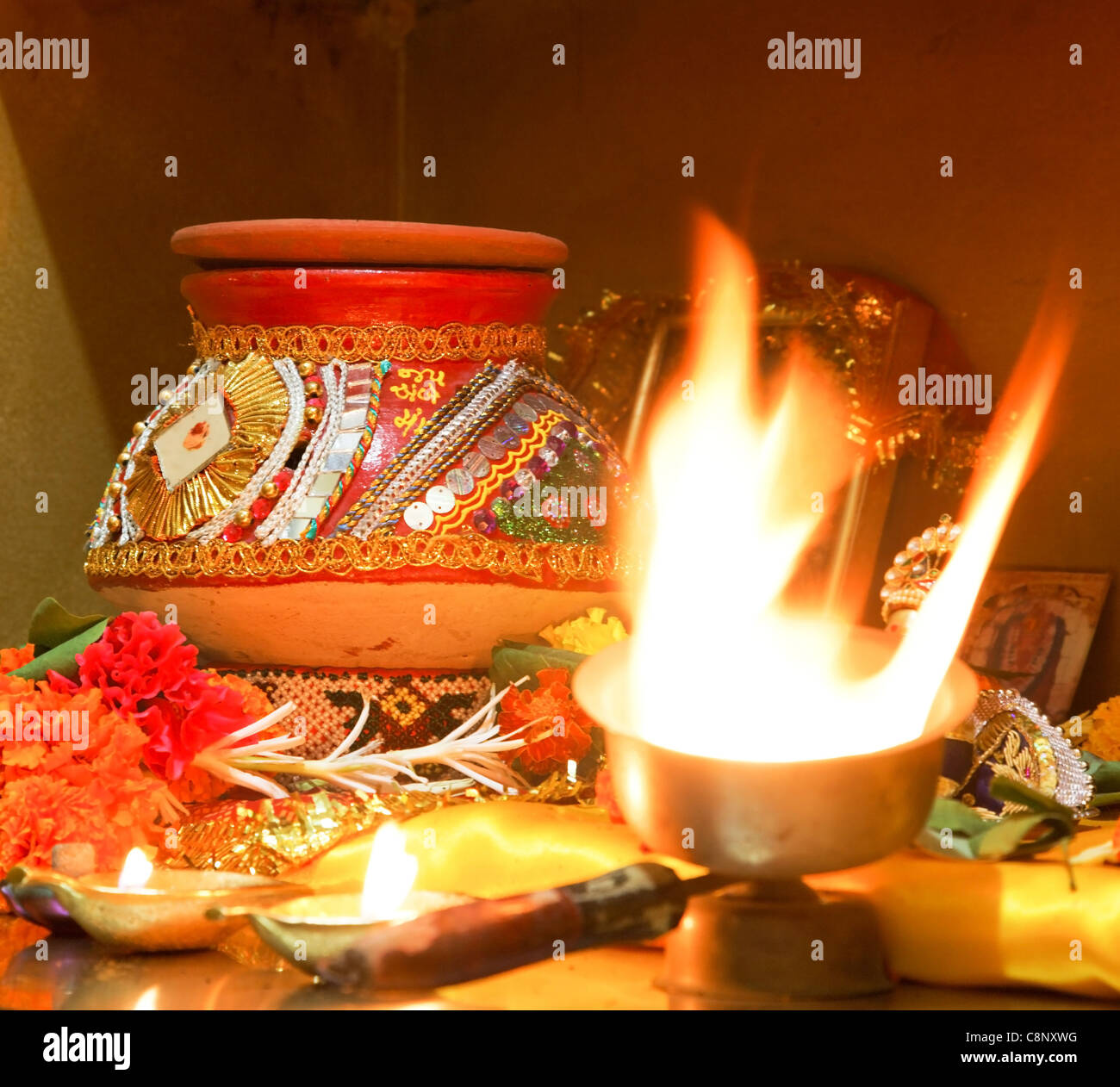 square format Hindu religion worship at Navratri in home with puja ...
