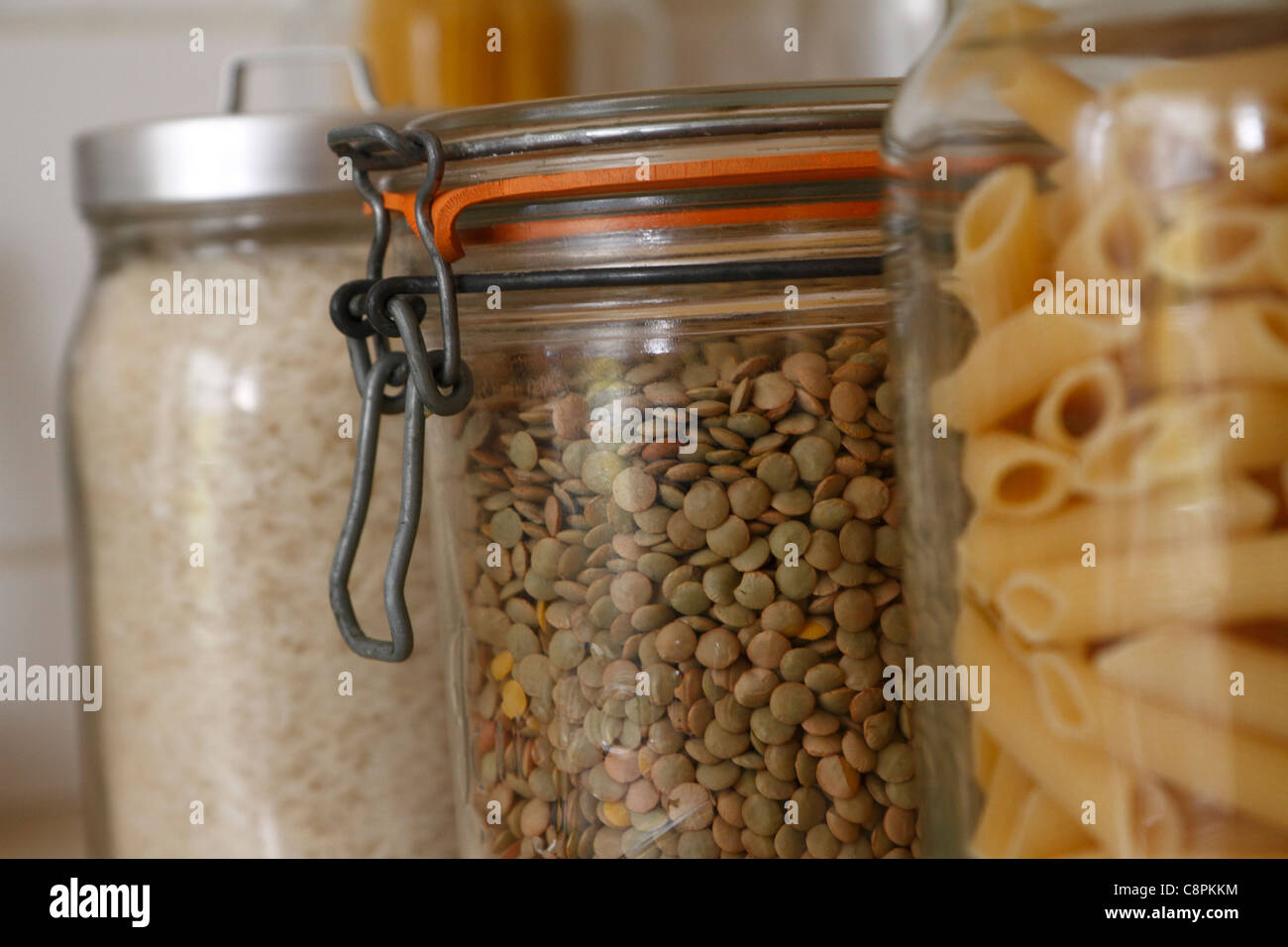 glass kitchen storage jars stock photos & glass kitchen storage