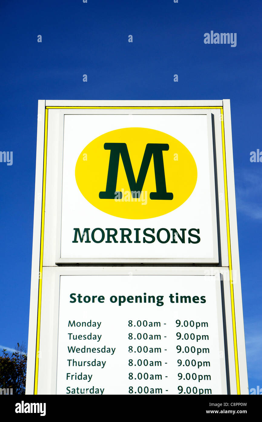morrisons store opening times sign stock photo royalty. Black Bedroom Furniture Sets. Home Design Ideas