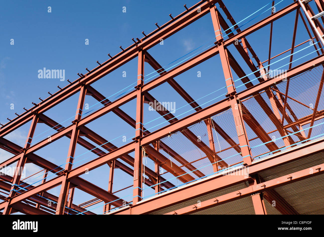 steel frame of a building under construction stock image