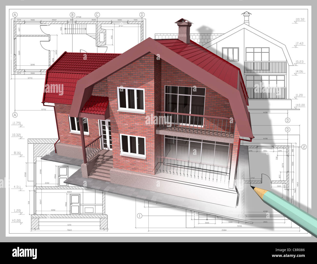 3d isometric view the residential house on architect u0026 39 s